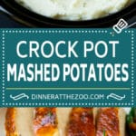 Crock Pot Mashed Potatoes Recipe | Slow Cooker Mashed Potatoes #potatoes #sidedish #crockpot #slowcooker #thanksgiving #dinner #dinneratthezoo