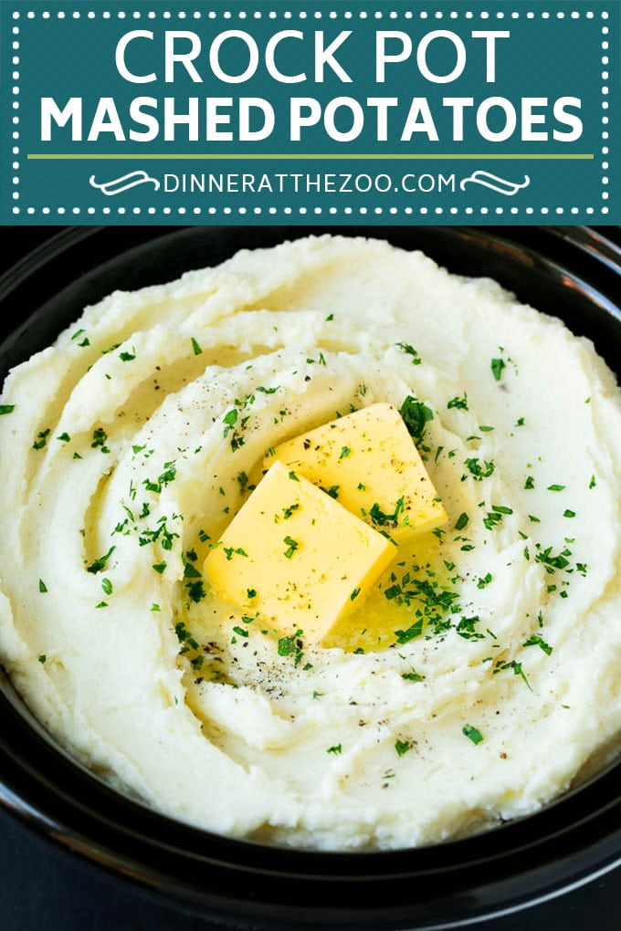 These crock pot mashed potatoes are diced Russet potatoes that are simmered in the slow cooker, then mashed with butter and cream cheese for a decadent side dish.