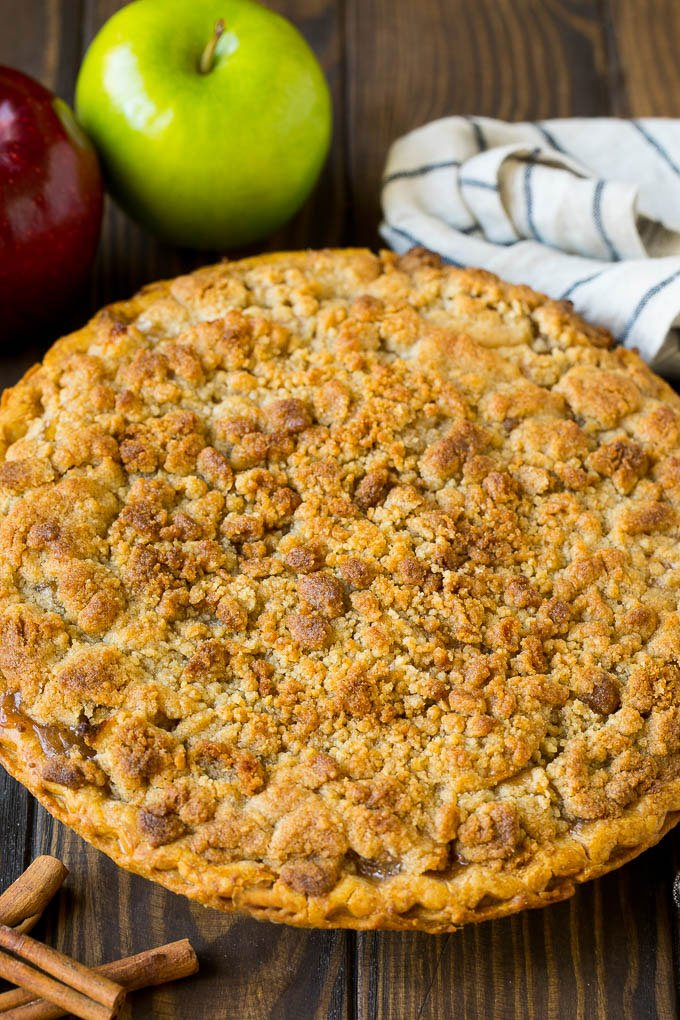 Dutch apple pie with brown sugar topping.