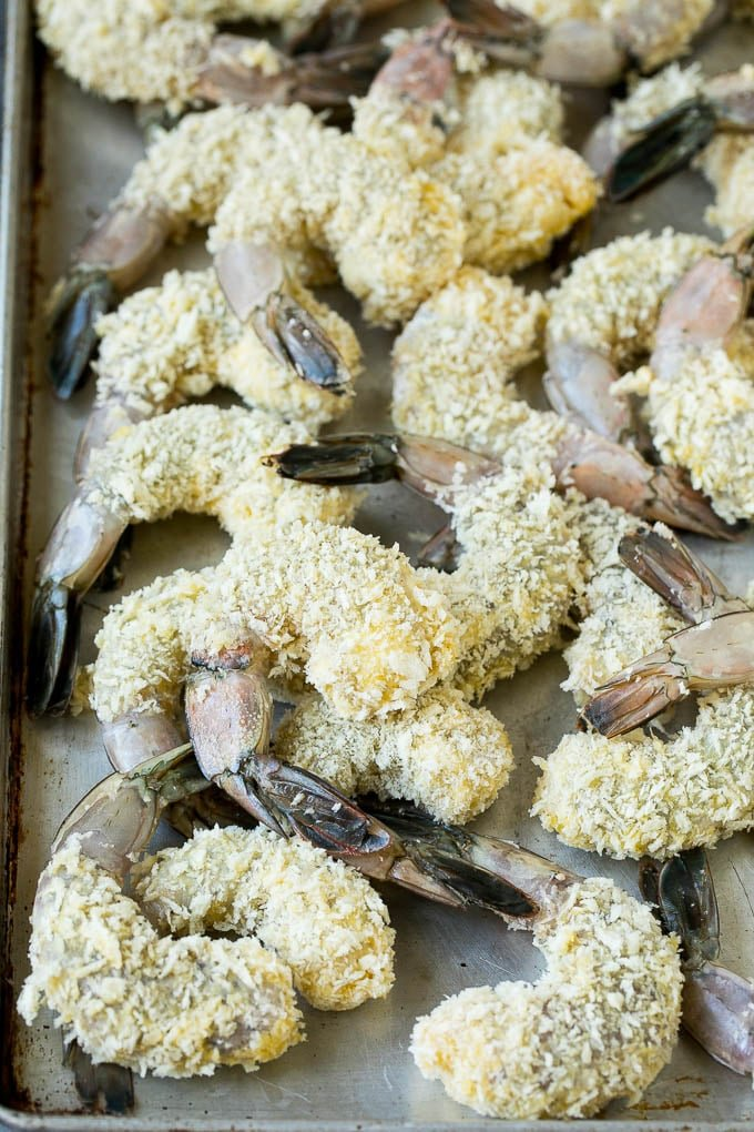 Shrimp coated in panko breadcrumbs.