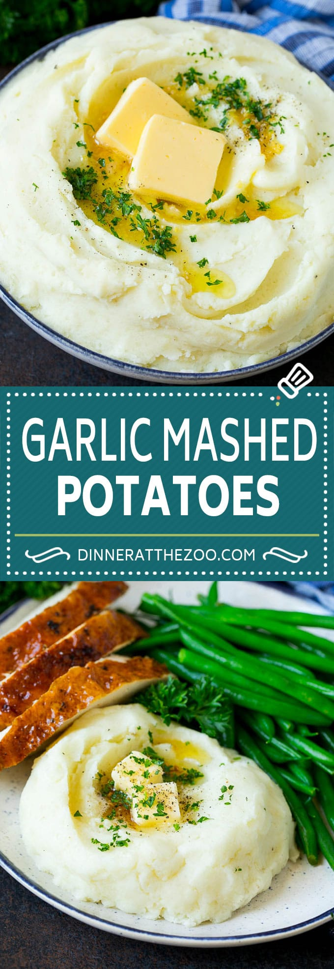 Garlic Mashed Potatoes Recipe #garlic #potatoes #mashedpotatoes #sidedish #dinner #thanksgiving #dinneratthezoo