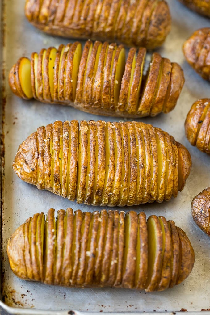 Roasted thinly sliced potatoes.