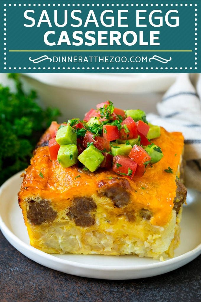 Sausage Egg Casserole Recipe | Egg Casserole #eggs #sausage #potato #cheese #casserole #breakfast #brunch #dinneratthezoo