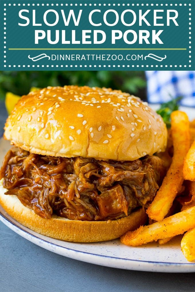 Slow Cooker Pulled Pork Recipe | Crock Pot Pulled Pork #pork #pulledpork #crockpot #slowcooker #dinner #dinneratthezoo
