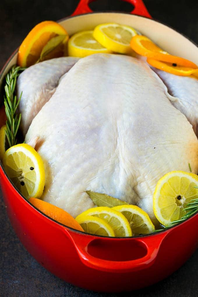 A turkey in a pot of brine.