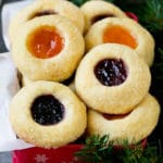 Thumbprint cookies in a tin for gift giving.