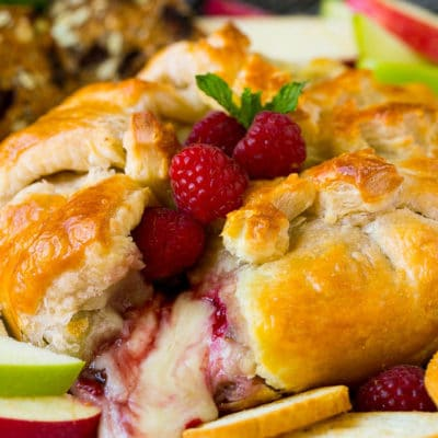 Baked Brie with Raspberries and Pecans