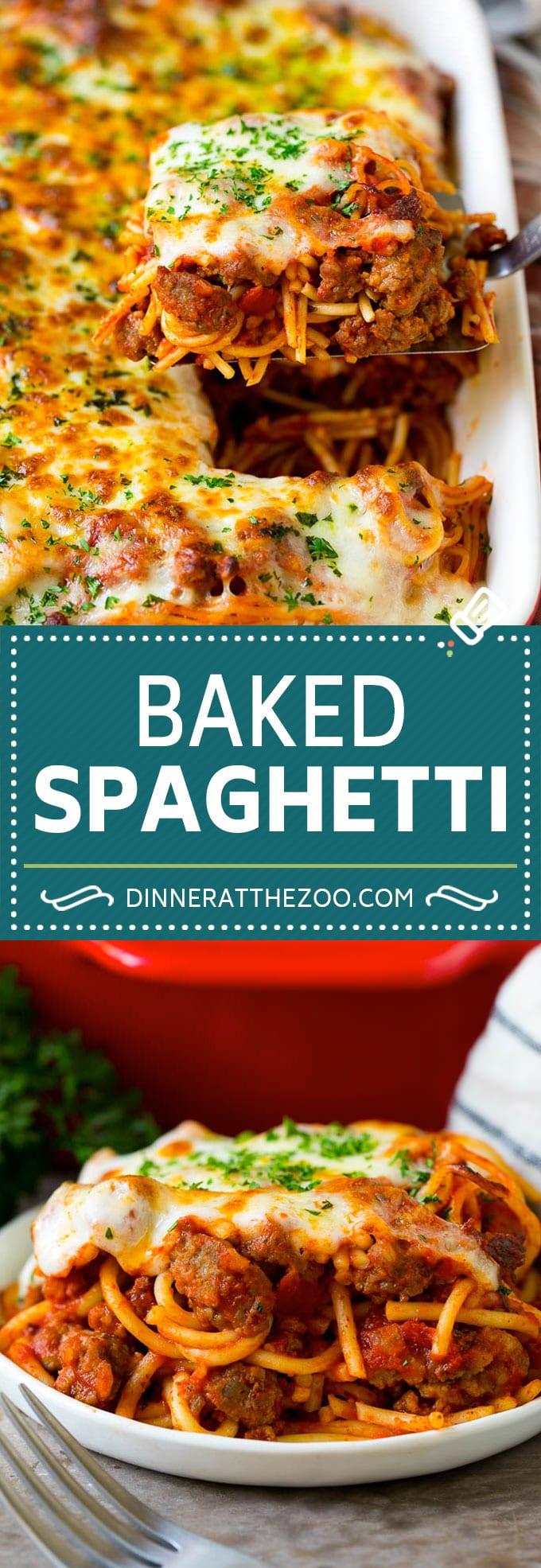 Baked Spaghetti Recipe | Baked Pasta #spaghetti #pasta #cheese #casserole #beef #sausage #dinner #dinneratthezoo
