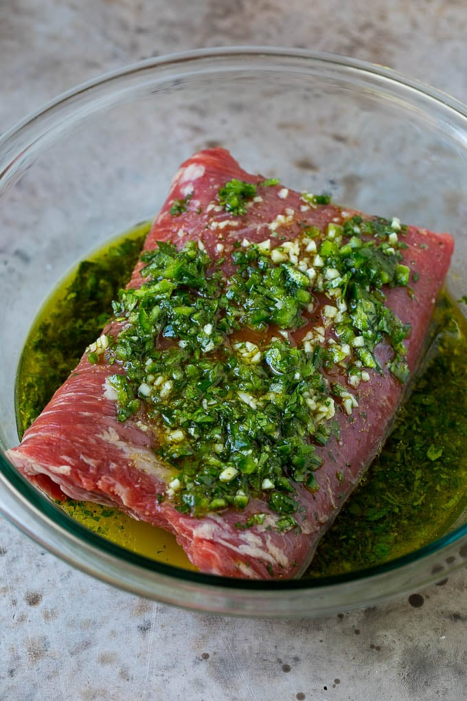 Flank steak in a cilantro and citrus marinade.