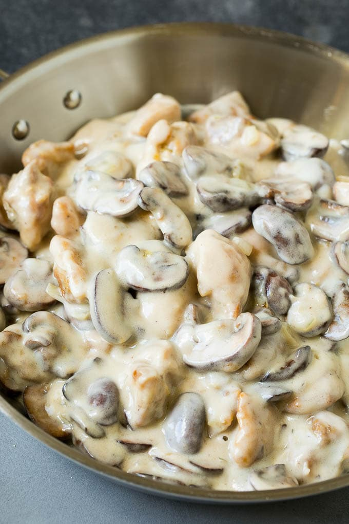 Chicken and mushrooms in a creamy sauce.