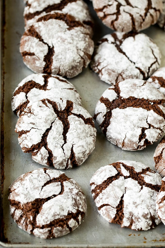 Crinkle cookies on a sheet pan.