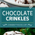 Chocolate Crinkle Cookies Recipe #cookies #chocolate #christmas #dessert #baking #dinneratthezoo