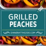 These grilled peaches are seared on the grill until tender and caramelized, then brushed with cinnamon honey for a sweet finish.