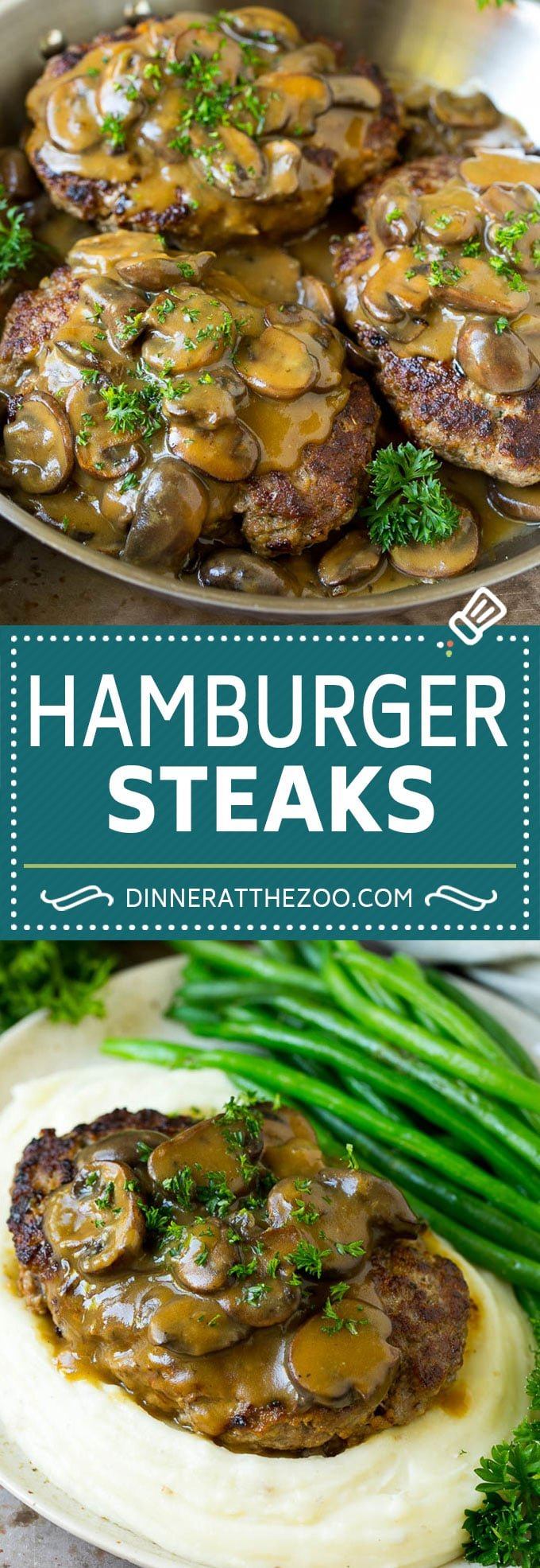 Hamburger Steaks with Mushroom Gravy Recipe | Salisbury Steak #hamburger #groundbeef #mushrooms #gravy #dinner #dinneratthezoo