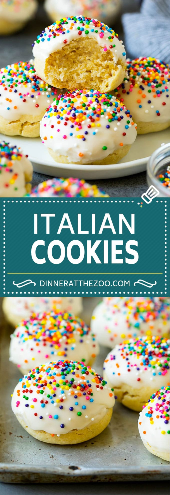 Italian Cookies Recipe | Almond Cookies #cookies #italianfood #frosting #sprinkles #baking #christmas #dinneratthezoo