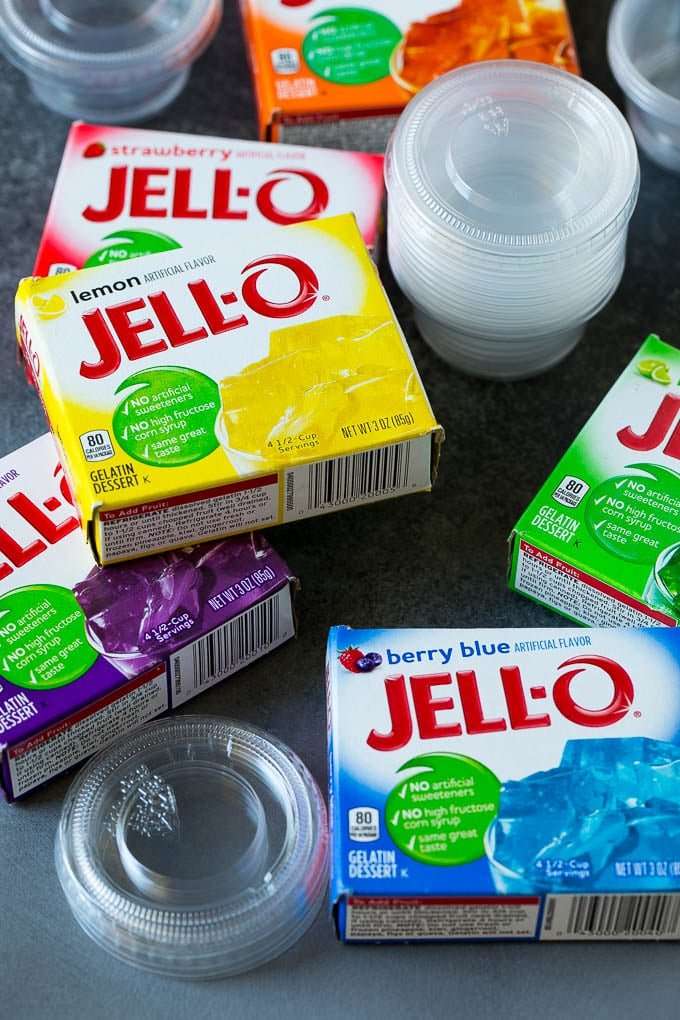 Boxes of jello with plastic shot cups.