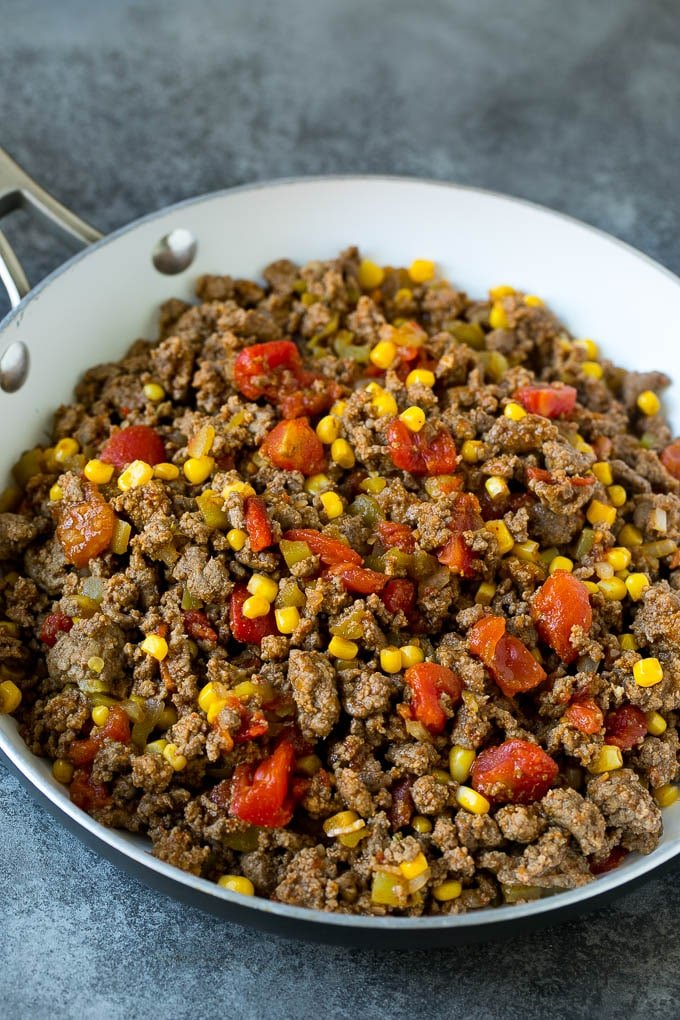 Ground beef cooked with tomatoes, green chilies and corn.