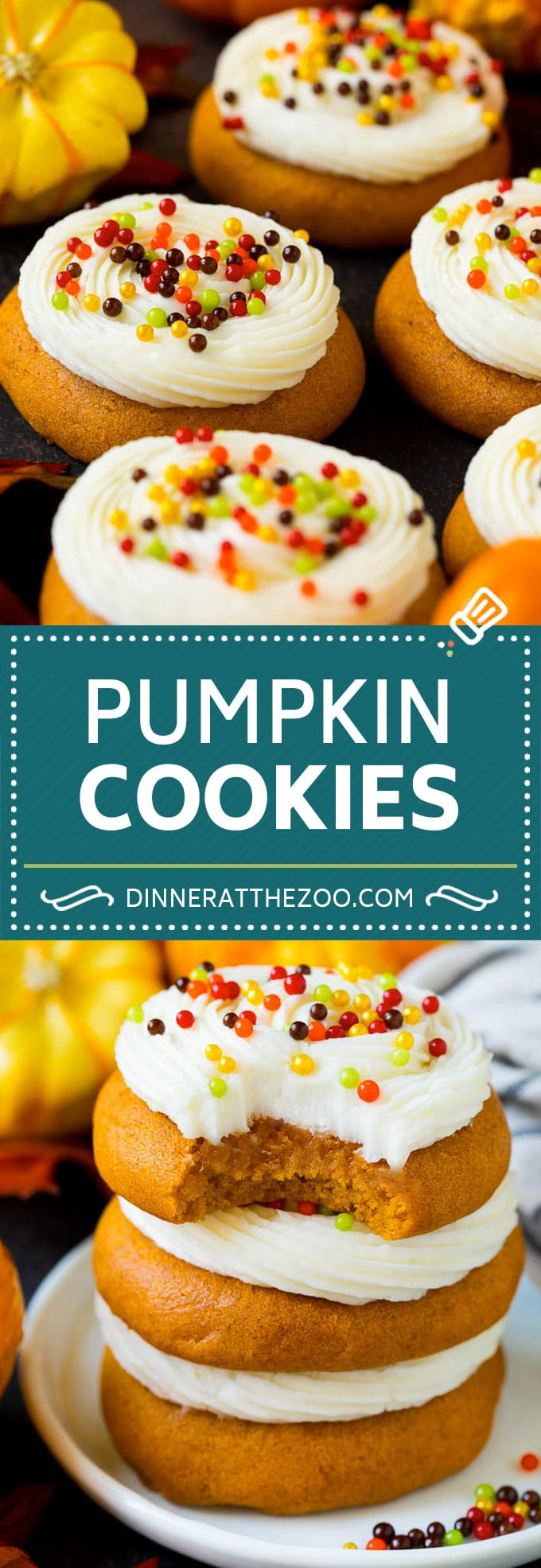 These soft pumpkin cookies bake up light and fluffy, and are topped with a decadent cream cheese frosting and colorful sprinkles.