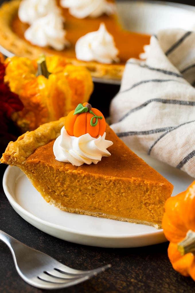 Pumpkin puree baked into pumpkin pie.