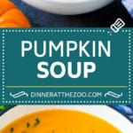 This pumpkin soup is roasted pumpkin pureed with vegetables and cream, with a generous amount of smoky bacon on top.