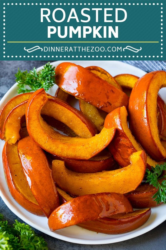 This roasted pumpkin recipe is sugar pie pumpkin wedges cooked with brown sugar, maple syrup and cinnamon.