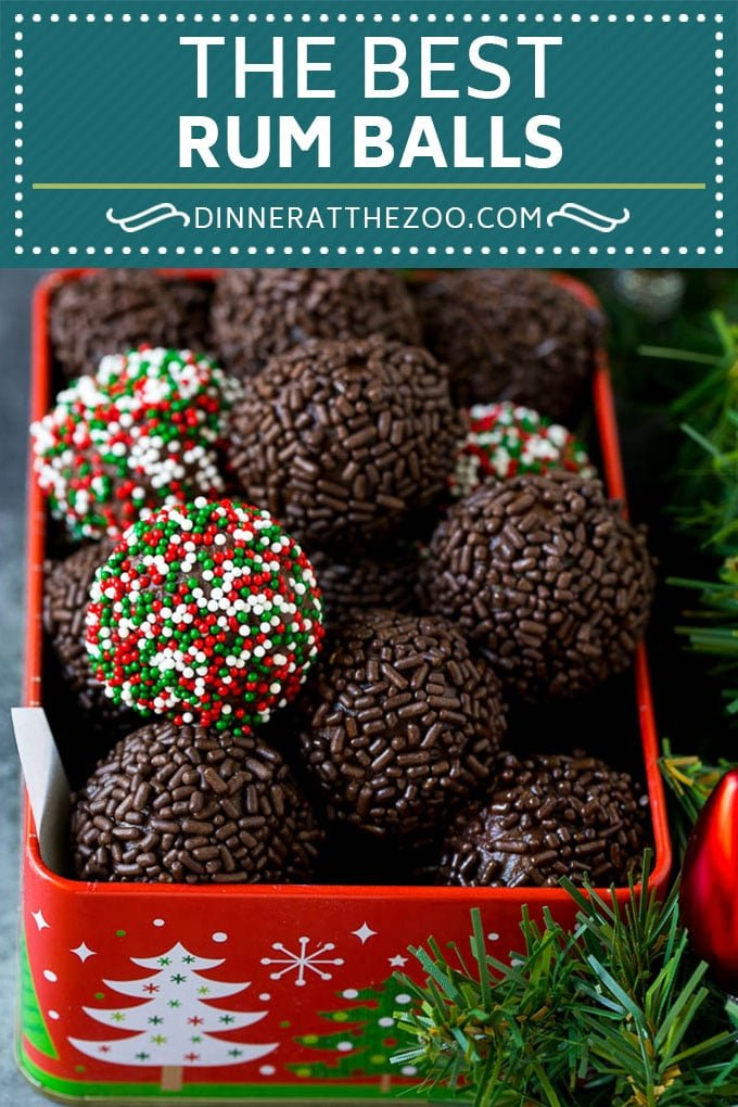 These rum balls are a blend of liquor, chocolate, pecans and cookie crumbs, all rolled together and coated with sprinkles.