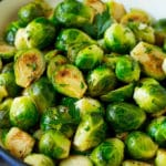 Sauteed brussels sprouts with garlic and an assortment of herbs.