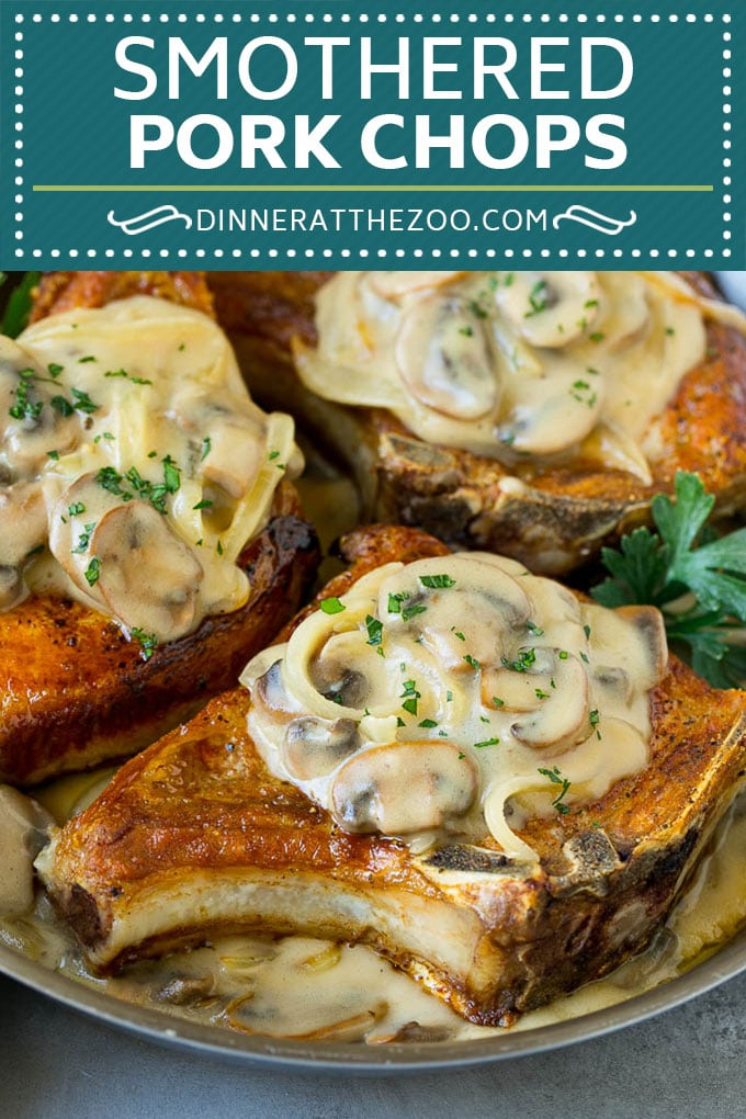 Smothered Pork Chops Recipe | Mushroom Pork Chops #pork #porkchops #mushrooms #gravy #dinner #dinneratthezoo