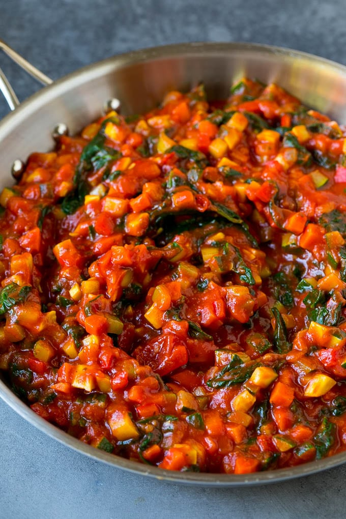 Marinara sauce filled with a variety of sauteed vegetables.