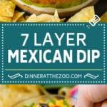 7 Layer Dip Recipe | Mexican Dip #beans #dip #appetizer #avocado #salsa #dinneratthezoo