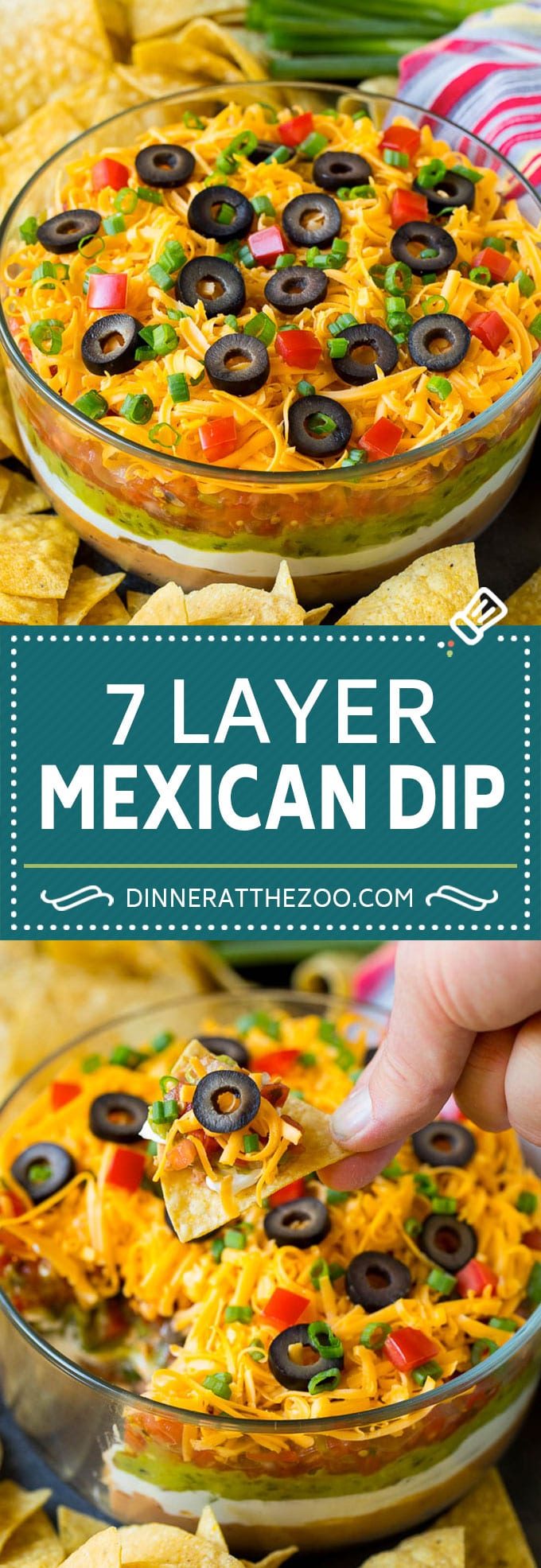 7 Layer Dip Recipe | Mexican Dip #beans #dip #appetizer #avocado #salsa #dinneratthezoo