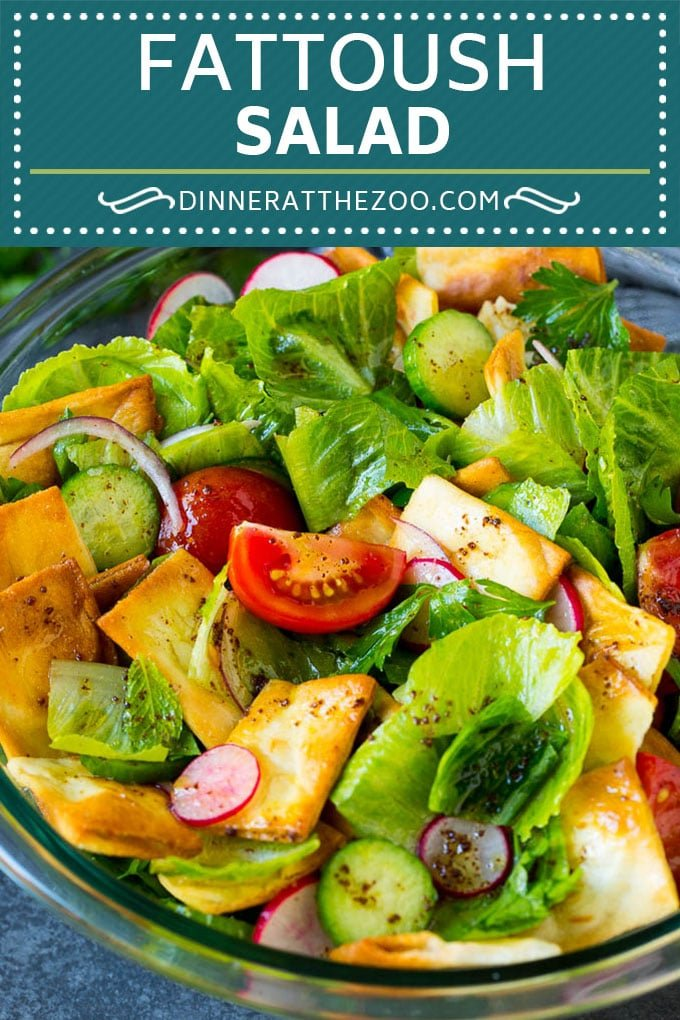 Fattoush Salad Recipe | Green Salad #salad #lettuce #tomatoes #cucumber #sidedish #healthy #dinneratthezoo