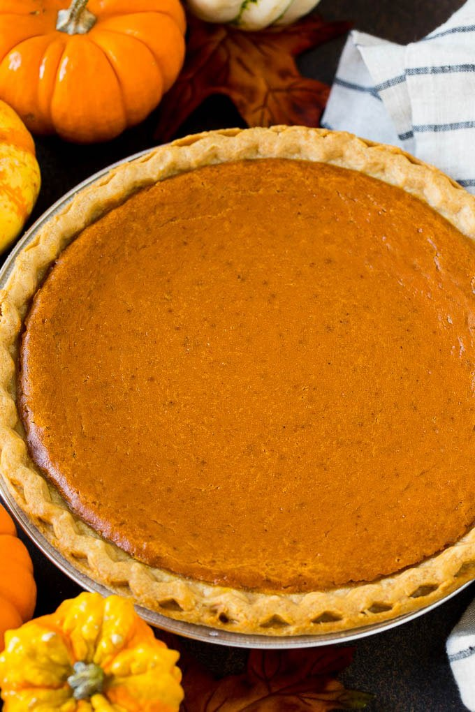 A whole pumpkin pie in a flaky crust.