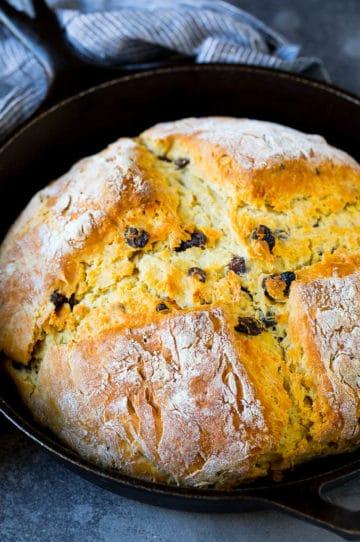 Irish soda bread baked in a cast iron skillet.