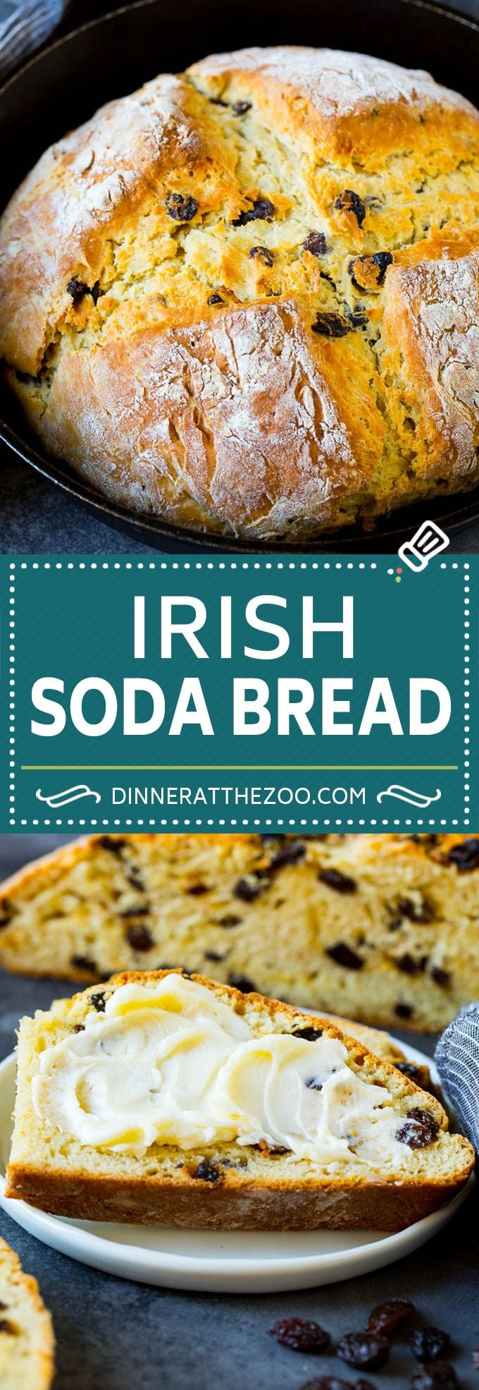 Irish Soda Bread Recipe #bread #baking #stpatricksday #sidedish #dinneratthezoo