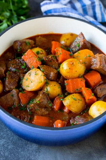 Irish stew with beer, tender beef, carrots and potatoes.