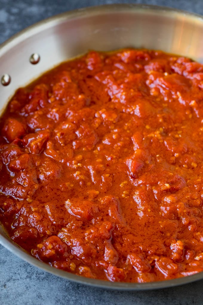 Homemade tomato sauce in a skillet.