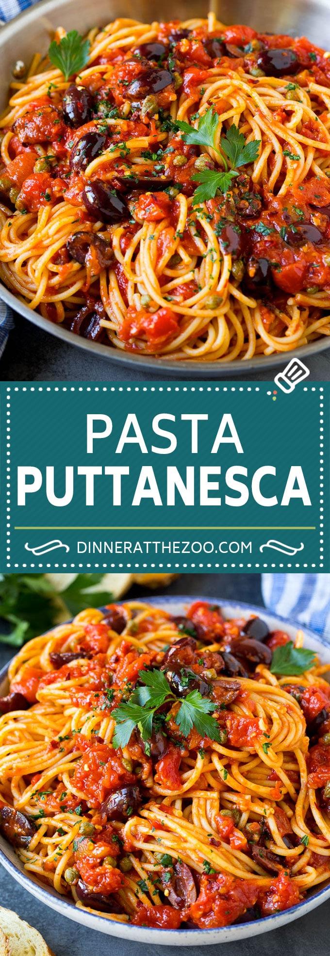 Pasta Puttanesca Recipe #pasta #tomatoes #olives #italianfood #dinner #dinneratthezoo