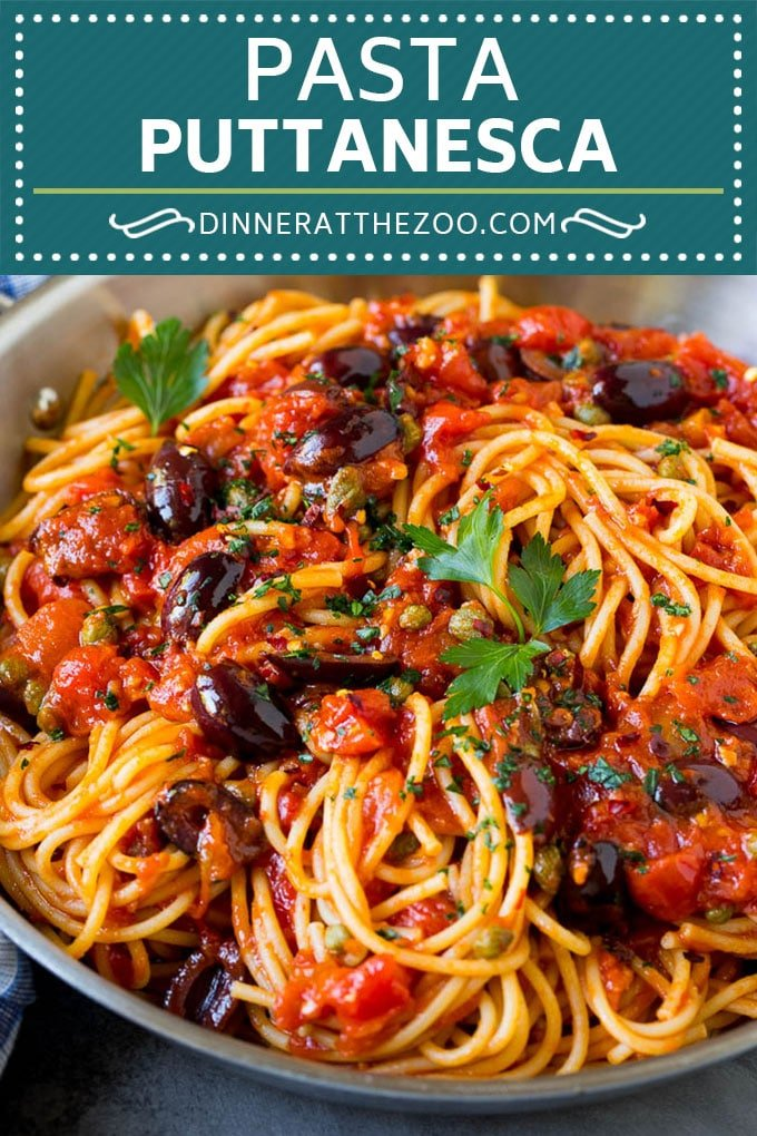 Pasta Puttanesca Recipe #pasta #tomatoes #olives #italianfood #dinner #dinneratthezoo