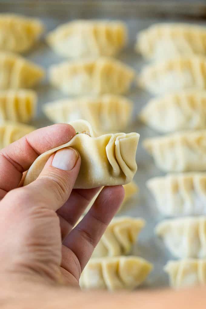 A hand making pleats in a dumpling wrapper.