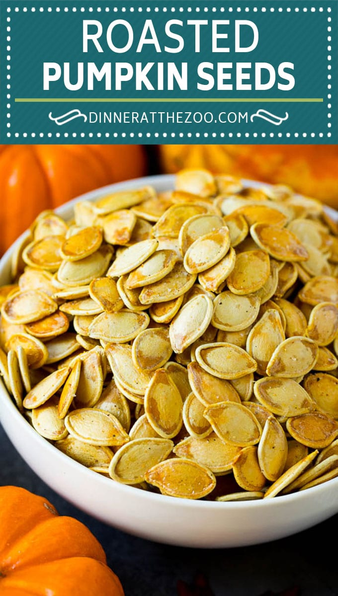 These roasted pumpkin seeds are coated in butter and seasonings, then baked until golden brown.