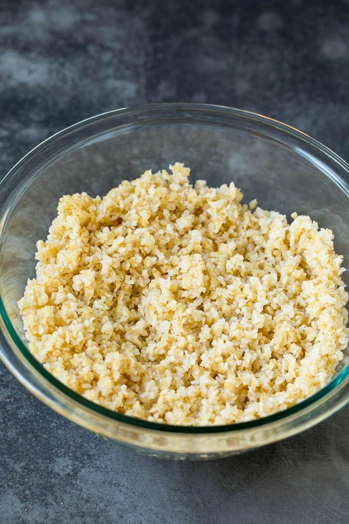 Bulgur wheat in a bowl.