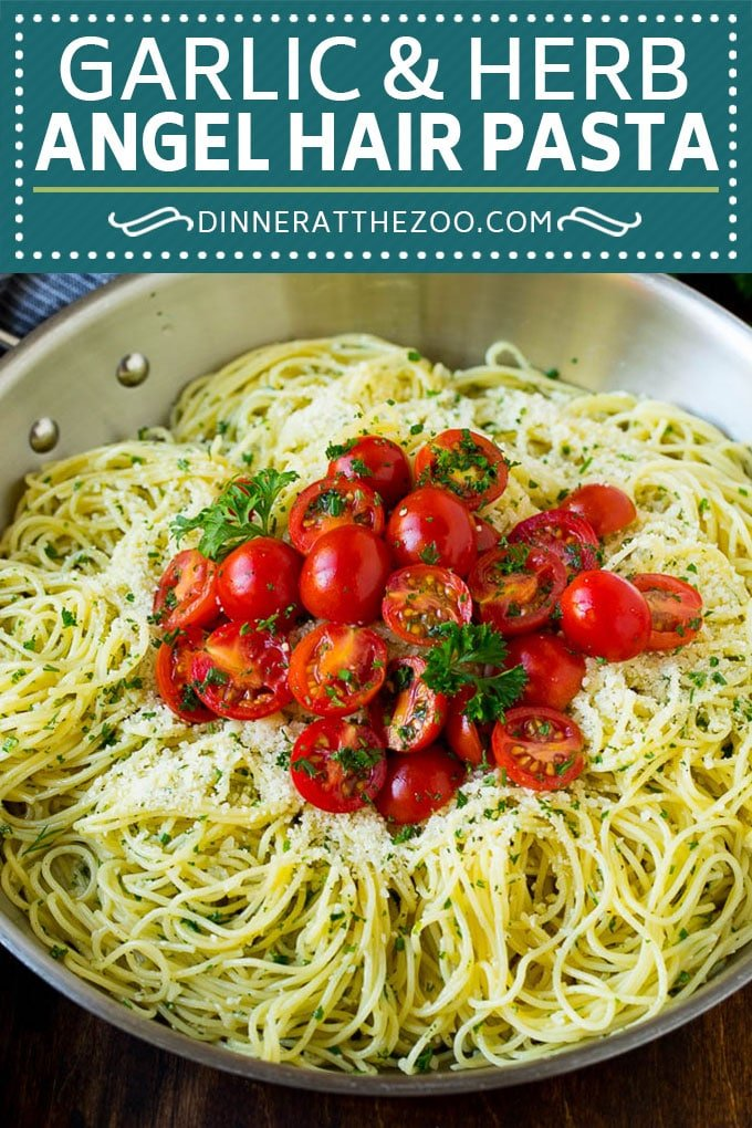 Garlic and Herb Angel Hair Pasta #pasta #garlic #sidedish #dinner #dinneratthezoo