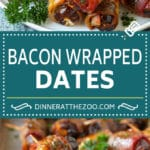 Bacon Wrapped Dates #appetizer #bacon #dates #cheese #dinneratthezoo