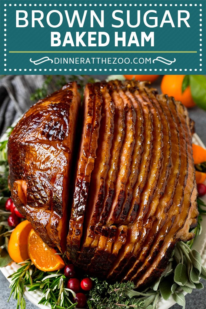 This baked ham is coated in a homemade brown sugar glaze, then cooked until golden brown and caramelized.
