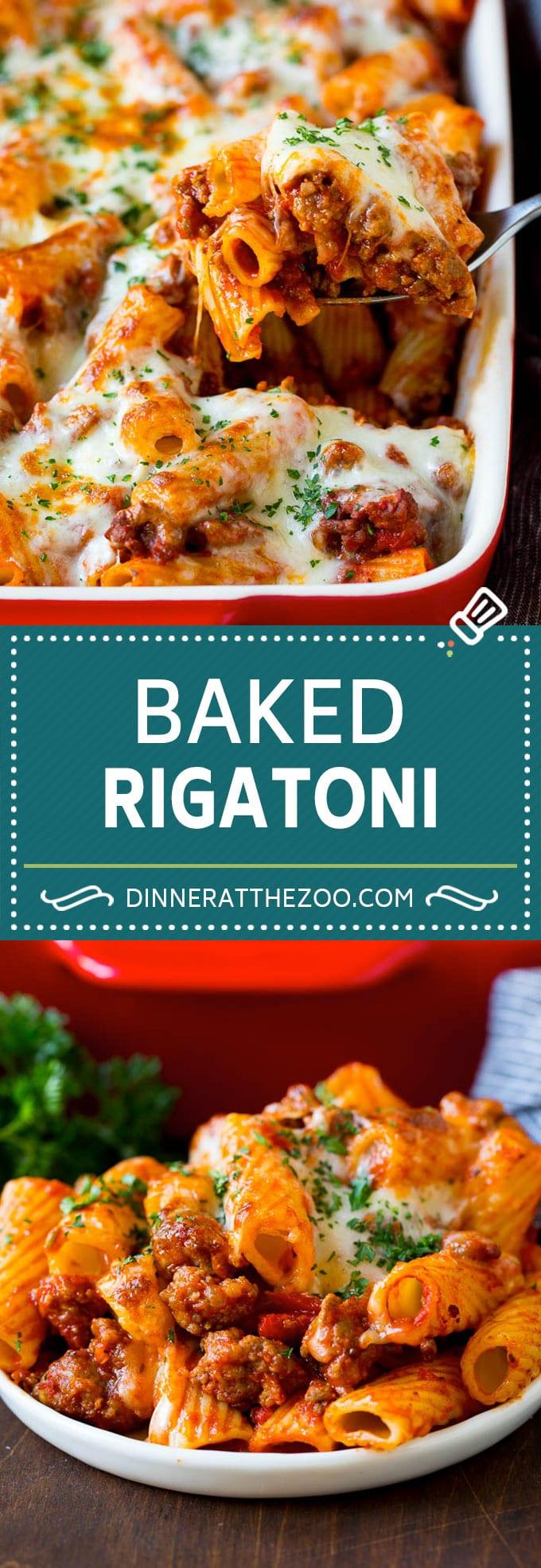 Baked Rigatoni Pasta #pasta #dinner #italianfood #groundbeef #dinneratthezoo #casserole