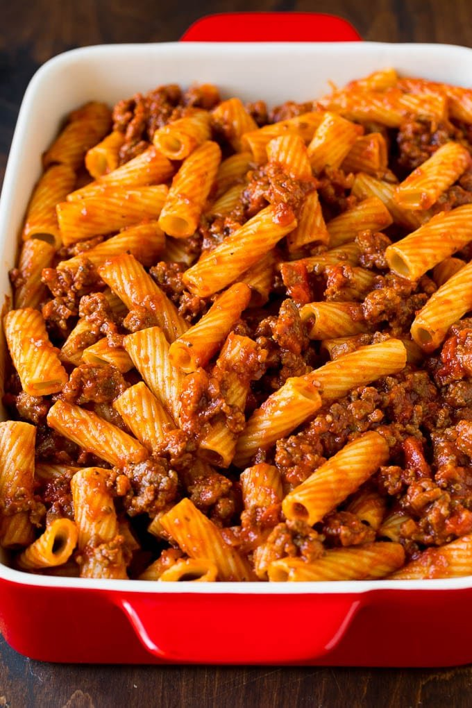 Rigatoni pasta tossed with meat sauce.