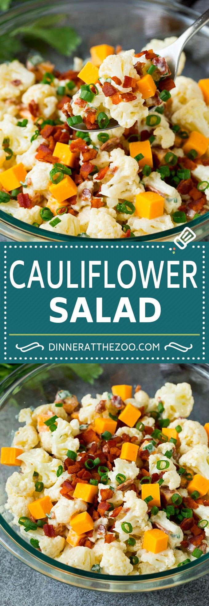 Cauliflower Salad Recipe #salad #cauliflower #bacon #lowcarb #keto #dinner #dinneratthezoo