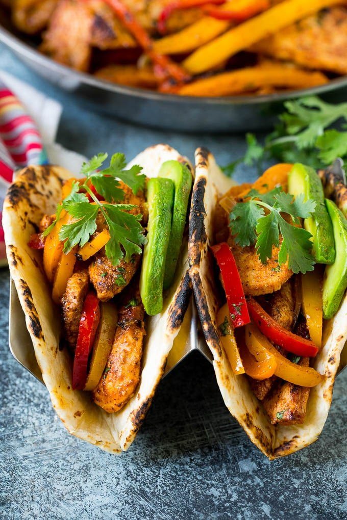 Fajitas made with chicken fajita marinade in flour tortillas.