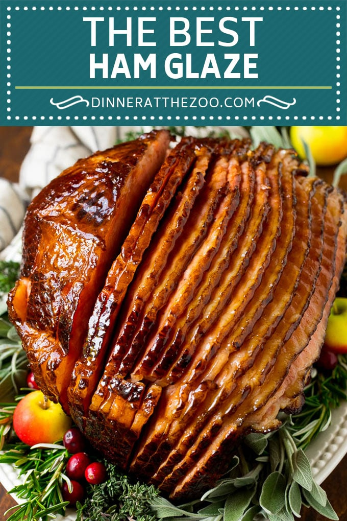 This ham glaze is a combination of butter, brown sugar, pineapple juice and spices, all simmered together until thickened.
